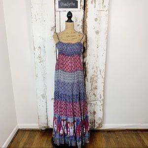 Cache boho print blocked peasant maxi dress